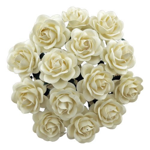 25 IVORY MULBERRY PAPER TRELLIS ROSES