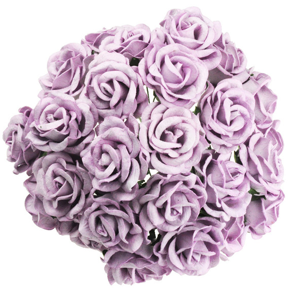 25 LILAC MULBERRY PAPER CHELSEA ROSES
