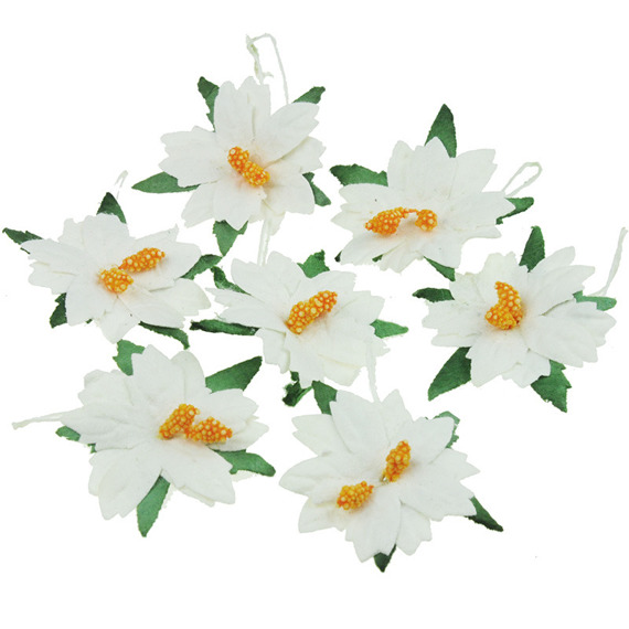 25 MEDIUM WHITE MULBERRY PAPER POINSETTIAS
