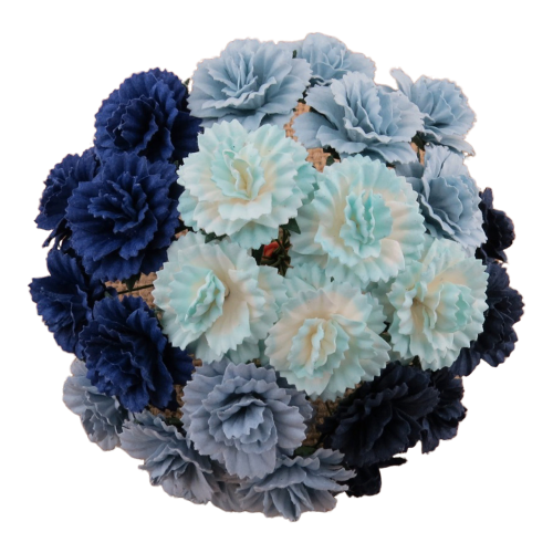 25 MIXED BLUE MULBERRY PAPER CARNATION FLOWERS