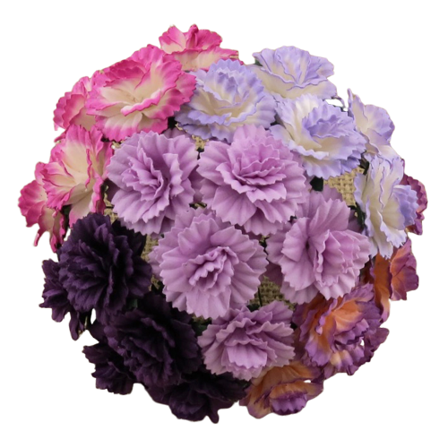 25 MIXED PURPLE/LILAC MULBERRY PAPER CARNATION FLOWERS