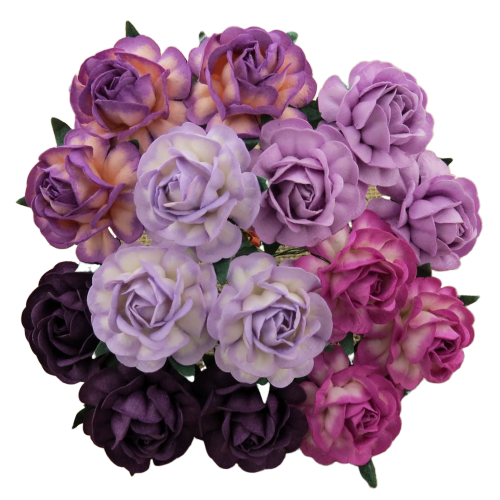 25 MIXED PURPLE/LILAC MULBERRY PAPER TEA ROSES 40mm