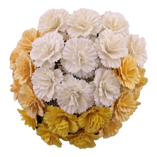 25 MIXED WHITE/CREAM MULBERRY PAPER CARNATION FLOWERS