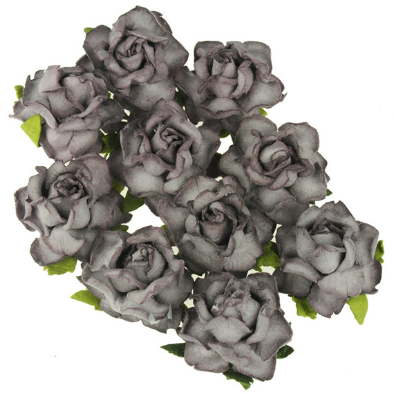 25 PURPLE MULBERRY PAPER COTTAGE ROSES