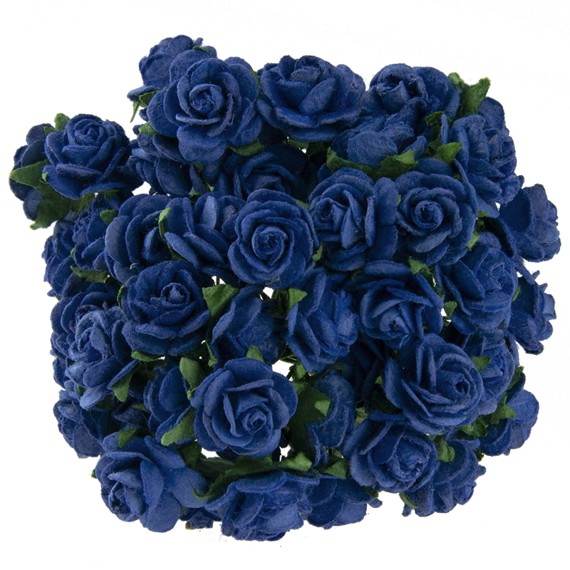 25 ROYAL BLUE MULBERRY PAPER OPEN ROSES 25MM