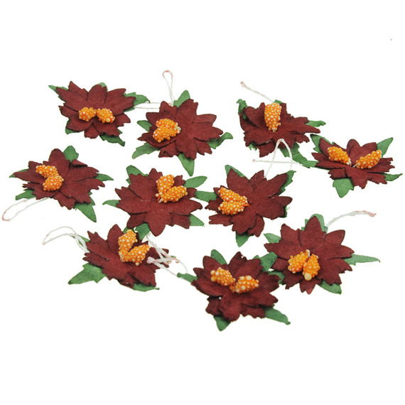 25 SMALL DEEP RED MULBERRY PAPER POINSETTIAS