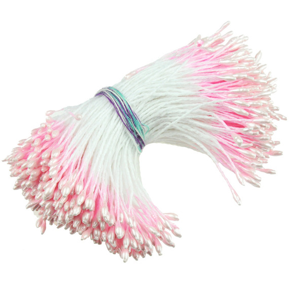 "350 SMALL BABY PINK DOUBLE HEAD PEARL STAMENS - 5mm (0.2"")"