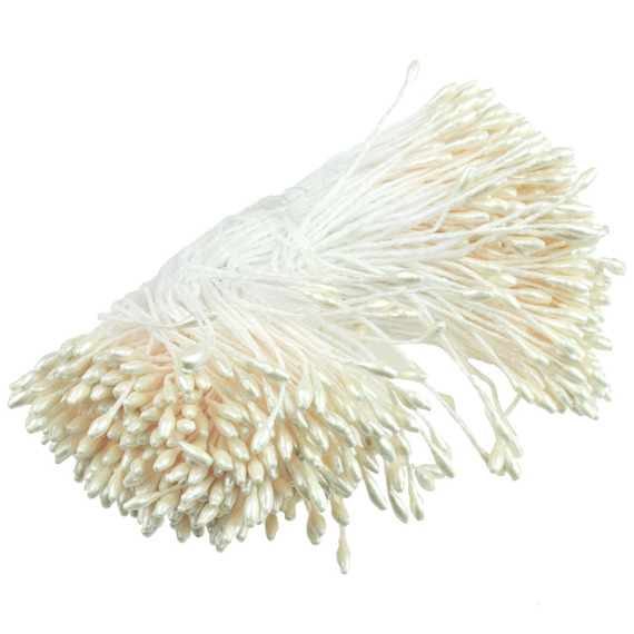 "350 SMALL IVORY DOUBLE HEAD PEARL STAMENS - 5mm (0.2"")"