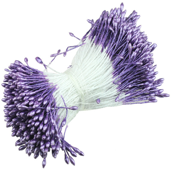 "350 SMALL LILAC DOUBLE HEAD PEARL STAMENS - 5mm (0.2"")"