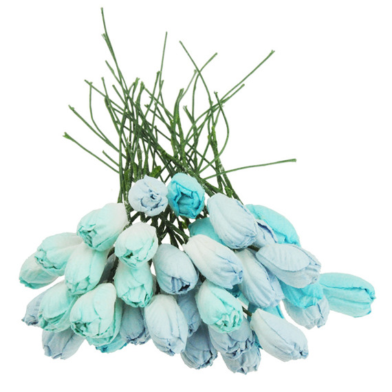 40 MIXED BLUE TONE MULBERRY PAPER TULIP FLOWERS