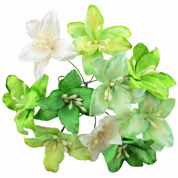 40 MIXED GREEN MULBERRY PAPER LILY FLOWERS