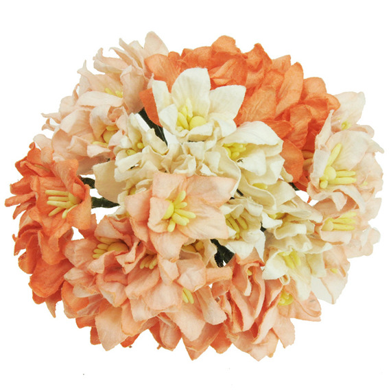 40 MIXED PEACH/ORANGE MULBERRY PAPER LILY FLOWERS