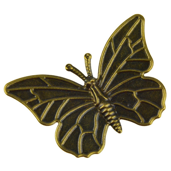 5 ANTIQUE BRONZE BUTTERFLY EMBELLISHMET