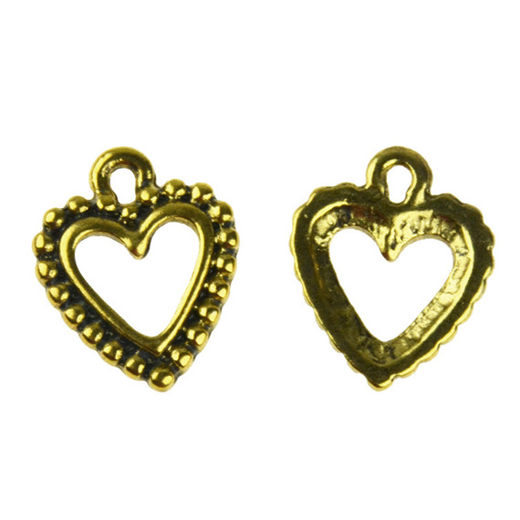 5 METAL HEART EMBELLISHMENTS