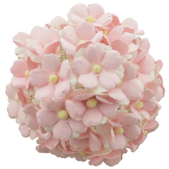 50 2-TONE BABY PINK YELLOW MULBERRY PAPER SWEETHEART BLOSSOM FLOWERS