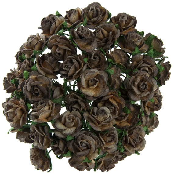 50 2-TONE CHOCOLATE BROWN MULBERRY PAPER OPEN ROSES 10MM