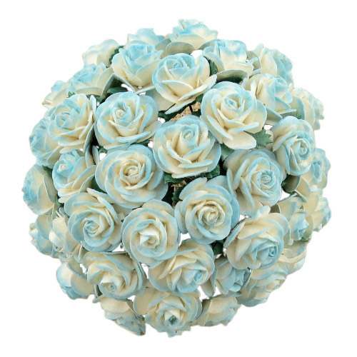 50 2-TONE LIGHT TURQUOISE MULBERRY PAPER OPEN ROSES, 10 mm