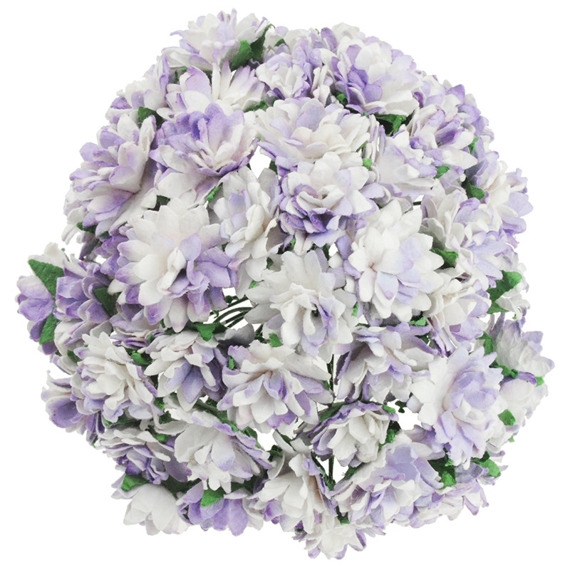 50 2-TONE LILAC MULBERRY PAPER ASTER DAISY STEM FLOWERS