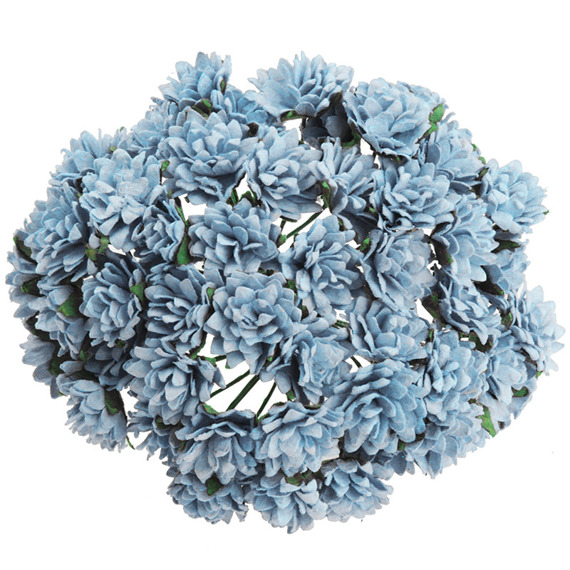50 BABY BLUE MULBERRY PAPER ASTER DAISY STEM FLOWERS