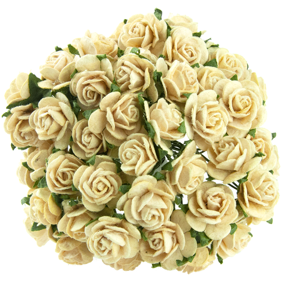 50 CREAM MULBERRY PAPER OPEN ROSES 10MM