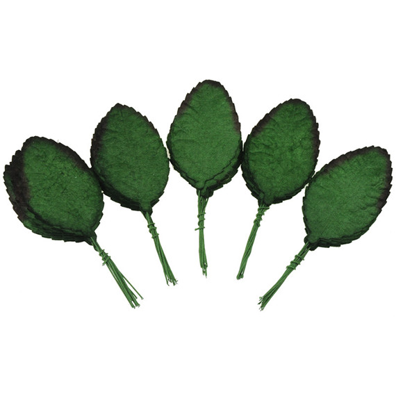 "50 GREEN MULBERRY PAPER ROSE LEAVES - 2"" (50mm)"
