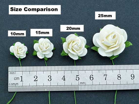 50 IVORY MULBERRY PAPER OPEN ROSES 10MM