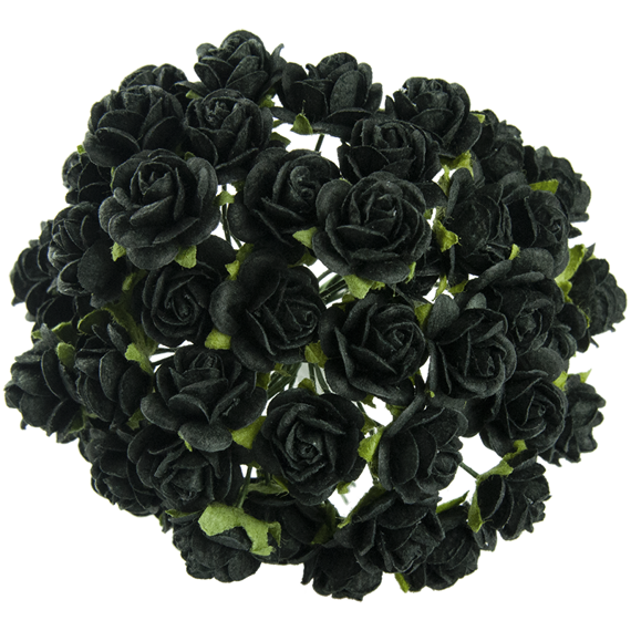 50 JET BLACK MULBERRY PAPER OPEN ROSES 15 MM