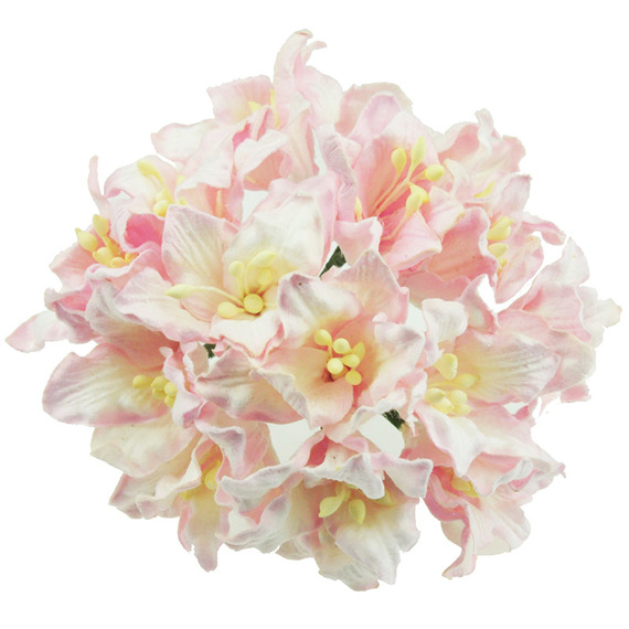 50 LIGHT PINK MULBERRY PAPER LILY FLOWERS