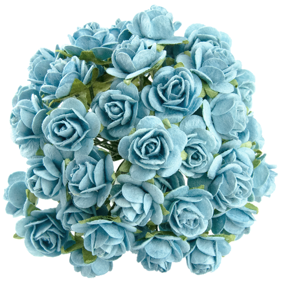 50 LIGHT TURQUOISE MULBERRY PAPER OPEN ROSES 20MM