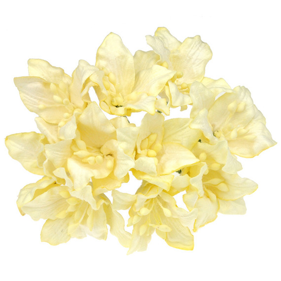 50 LIGHT YELLOW MULBERRY PAPER LILY FLOWERS