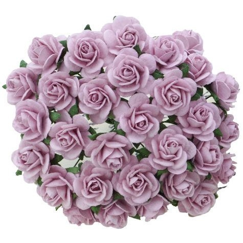 50 LILAC MULBERRY PAPER OPEN ROSES 10MM