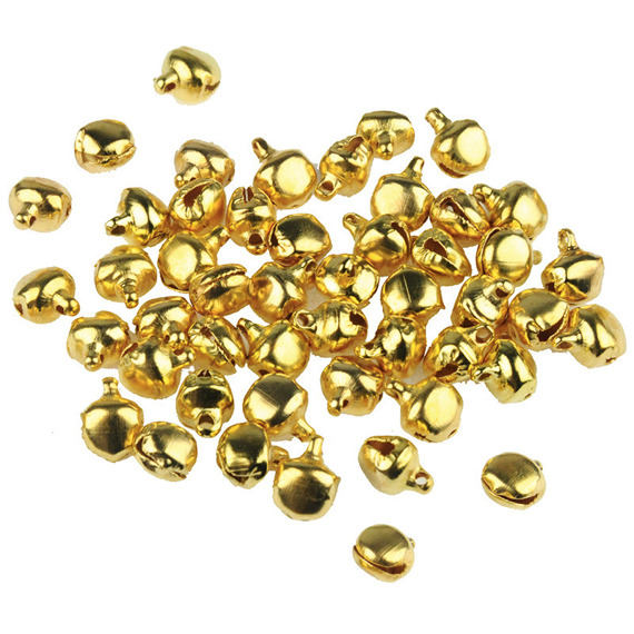 50 MINIATURE GOLD DECORATIVE BELLS