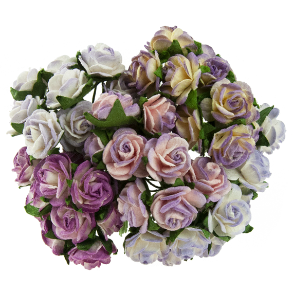 50 MIXED 2-TONE PURPLE/LILAC OPEN ROSES
