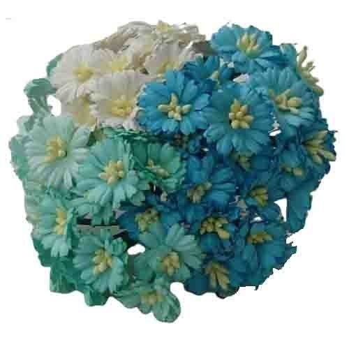 50 MIXED AQUA/BLUE COSMOS DAISY STEM FLOWERS