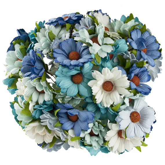 50 MIXED BLUE/AQUA MULBERRY PAPER CHRYSANTHEMUMS