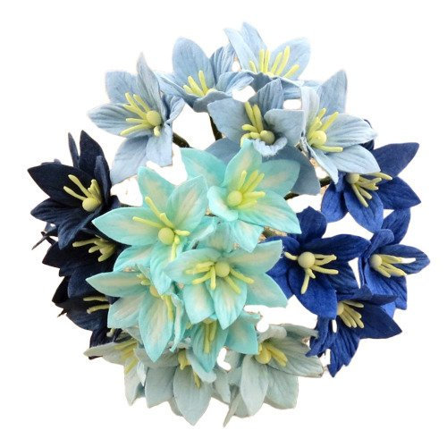 50 MIXED BLUE MULBERRY PAPER LILY FLOWERS