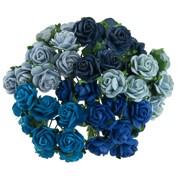 50 MIXED BLUE MULBERRY PAPER OPEN ROSES 15 MM