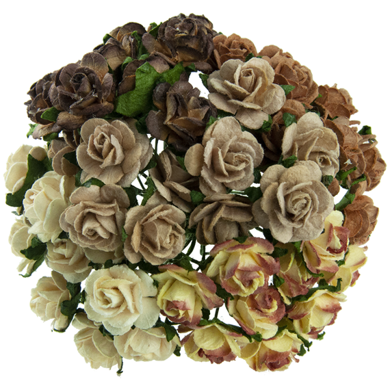 50 MIXED BROWN TONE MULBERRY PAPER OPEN ROSES 20 MM