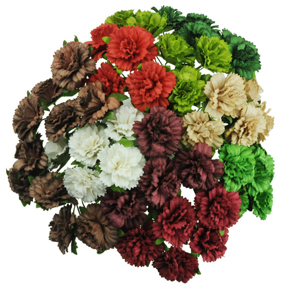 50 MIXED CHRISTMAS/SEASONAL COLOUR CARNATION FLOWERS