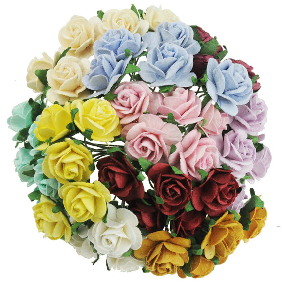 "50 MIXED COLOUR MULBERRY PAPER OPEN ROSES ¾"" (20mm)"