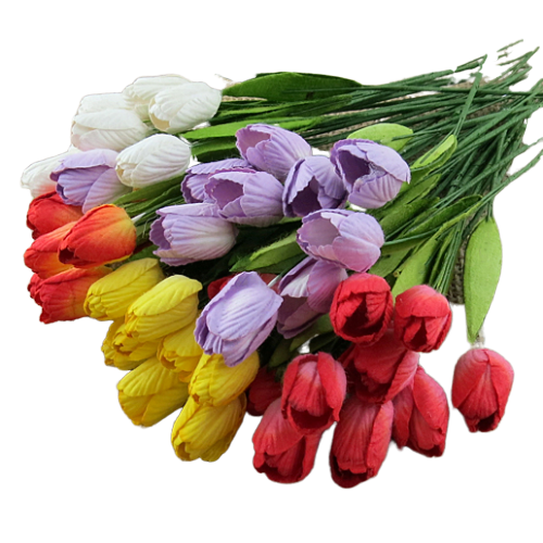 50 MIXED COLOUR MULBERRY PAPER TULIP FLOWERS WITH LEAF STEMS