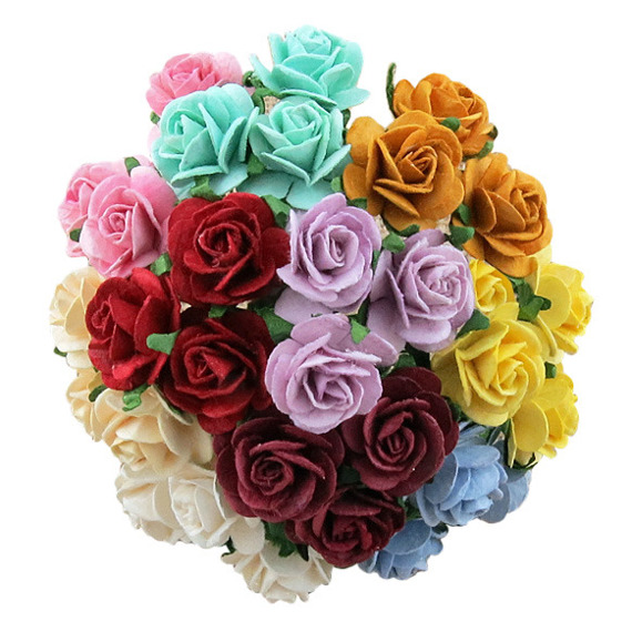 50 MIXED COLOUR OPEN ROSES