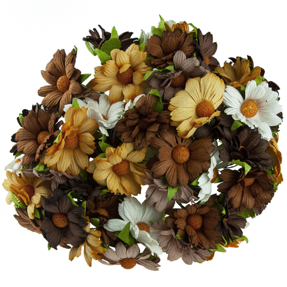 50 MIXED EARTH MULBERRY PAPER CHRYSANTHEMUMS