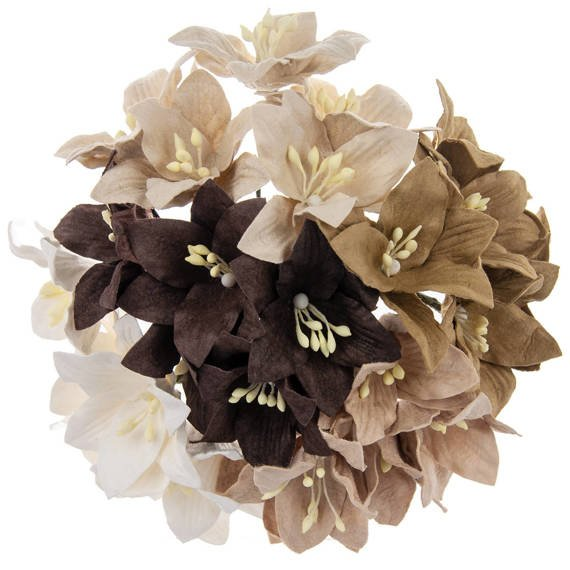 50 MIXED EARTH TONE MULBERRY PAPER LILY FLOWERS