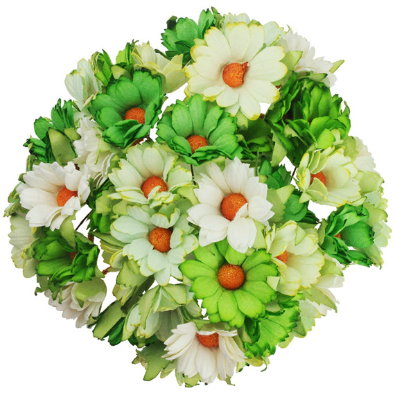 50 MIXED GREEN/WHITE MULBERRY PAPER CHRYSANTHEMUMS