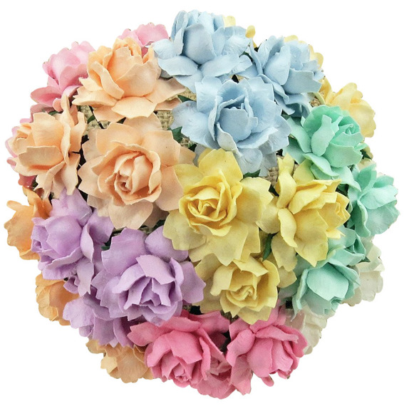 50 MIXED PASTEL MULBERRY PAPER COTTAGE ROSES