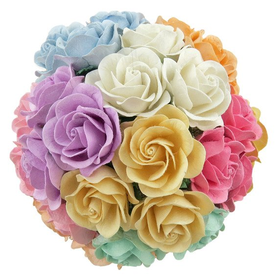 50 MIXED PASTEL MULBERRY PAPER TRELLIS ROSES 40mm