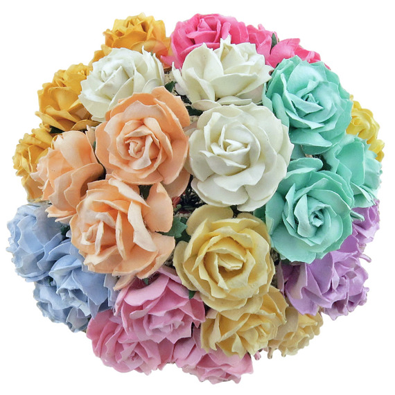 "50 MIXED PASTEL MULBERRY PAPER WILD ROSES 1¼"" (30mm)"