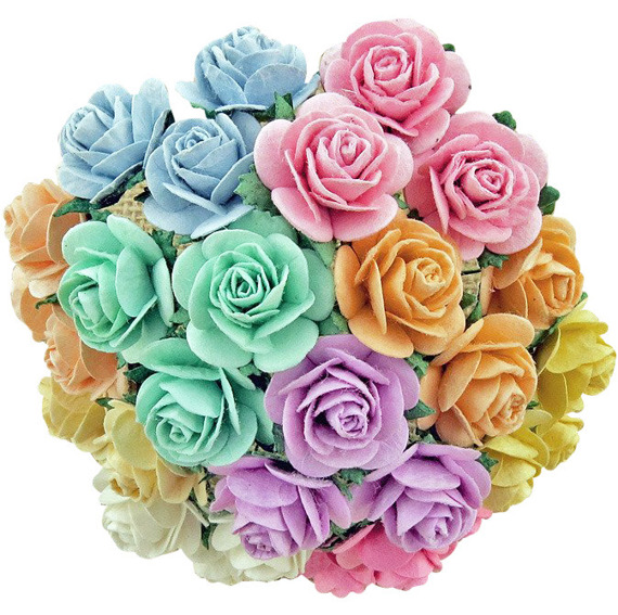50 MIXED PASTEL OPEN ROSES