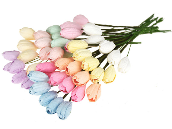 50 MIXED PASTEL TONE MULBERRY PAPER TULIP FLOWERS